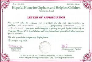 Certificate Dankbetuiging HH 2005